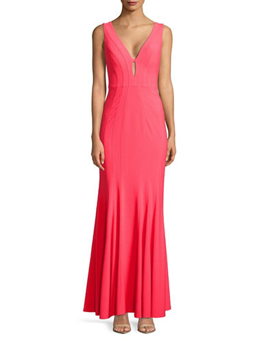 Decode 1.8 Sleeveless Fitted Gown-HOT CORAL-12