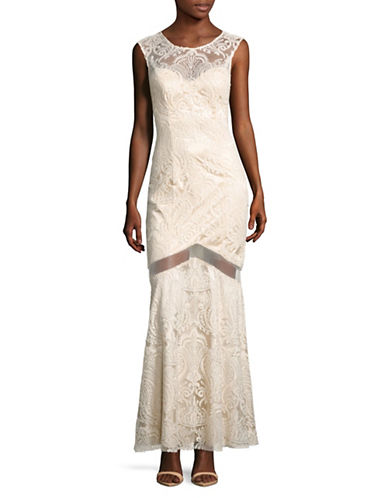 Decode 1.8 Sequined Illusion Lace Sheath Gown-BEIGE-12
