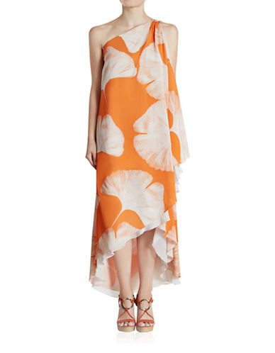 Halston Heritage One-Shoulder Printed Gown-ORANGE-10