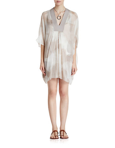 Halston Heritage Crinkle Chiffon Mini Caftan Dress-MULTI-X-Small plus size,  plus size fashion plus size appare