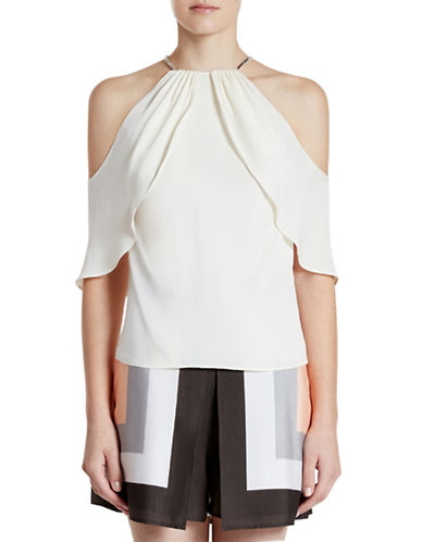 Halston Heritage Silk-Blend Cold-Shoulder Top-EGGSHELL-4