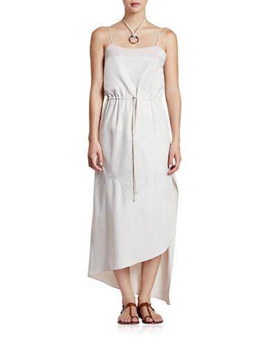 Halston Heritage Embroidered Leaf Maxi Slit Dress-OYSTER-10