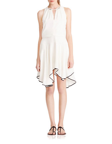 Halston Heritage Beaded Flounce Crepe Dress-WHITE-8