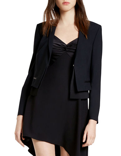 Halston Heritage Leather Detail Combo Jacket-BLACK-Small 88552527_BLACK_Small