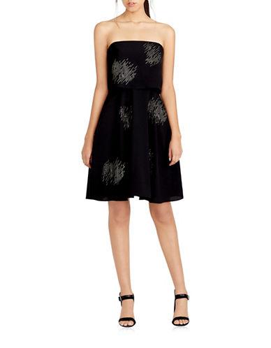 Halston Heritage Static Dot Embellished Strapless Dress-BLACK-6