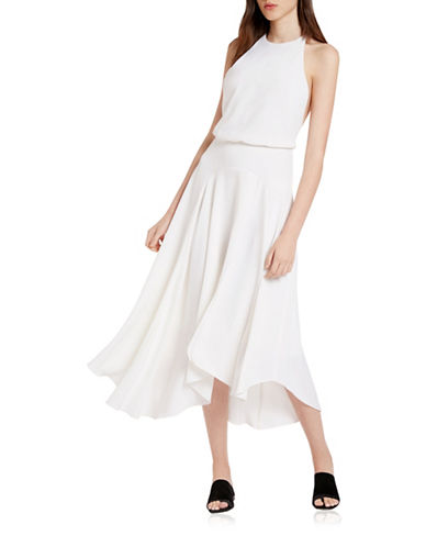 Halston Heritage Back Multi Strap Crepe Dress-WHITE-10