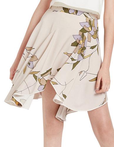 Halston Heritage Printed Silk-Blend Flounce Skirt-PARCHMENT-