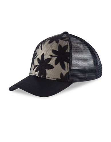 Pistil Eden Mid-Crown Trucker Hat-BLACK-One Size
