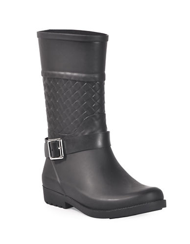 Dav Weston Woven Buckle Strap Mid-High Boots-BLACK-10