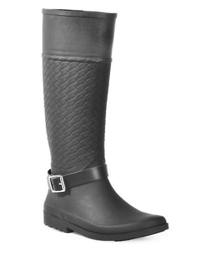 Dav Weston Woven Buckle Strap Knee-High Boots-BLACK-11