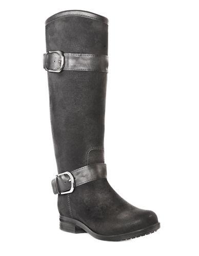 Dav Bristol Faux Suede Tall Rain Boots-BLACK-6