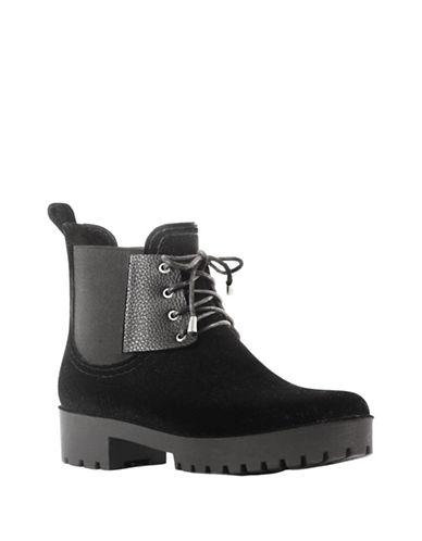 Dav Chelsea Velvet Rain Boots-BLACK-7
