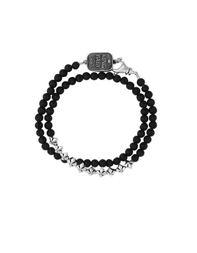 King Baby Studio Sterling Silver Wrap Bracelet-BLACK-One Size
