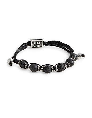 King Baby Studio Lava Rock Macrame Bracelet-BLACK-One Size