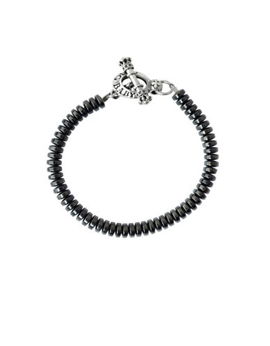 King Baby Studio Hematite and Sterling Silver Button Beaded Bracelet-BLACK-One Size