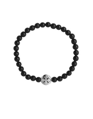 King Baby Studio Onyx and Sterling Silver Beaded Bracelet-BLACK-One Size