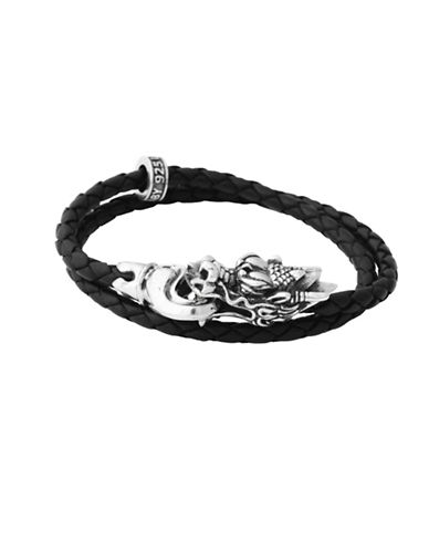 King Baby Studio Sterling Silver Dragon Bite Bracelet-SILVER/BLACK-One Size