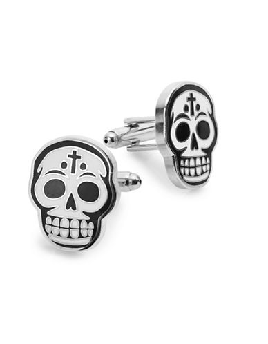 King Baby Studio Skull Outline Cufflinks-BLACK/WHITE-One Size
