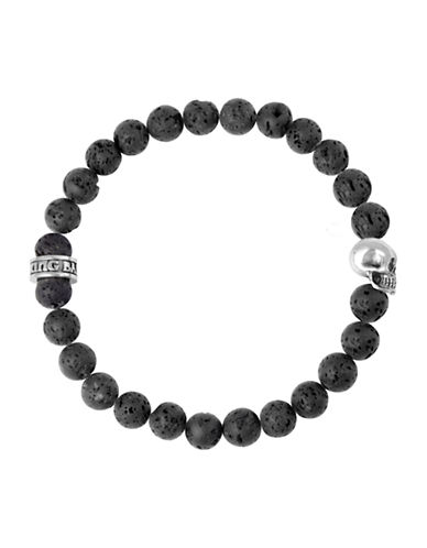King Baby Studio 8mm Black Lava Rock Bracelet with Skull Bead-SILVER-One Size