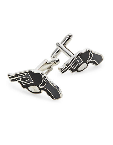 King Baby Studio Revolver Outline Cufflinks-BLACK-One Size