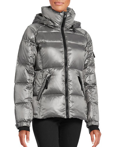 S13 Glossy Down-Filled Coat-SILVER-Large