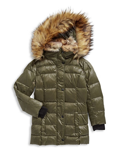 S13 Faux Fur Trimmed Quilted Puffer Jacket-GREEN-6
