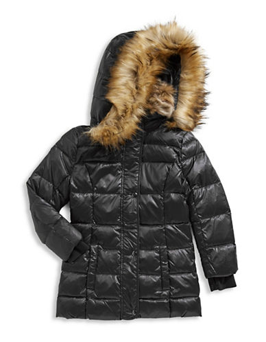 S13 Faux Fur Trimmed Quilted Puffer Jacket-BLACK-6