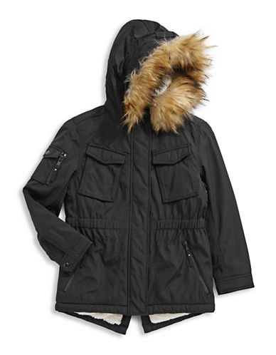 S13 Faux Fur-Trimmed Field Parka-BLACK-14