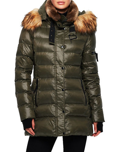 S13 Chelsea Faux Fur Detail Puffer Jacket-GREEN-Large