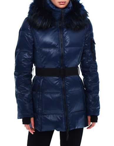 S13 Faux Fur Trim Puffer Coat-NIGHT BLUE-Small