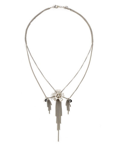 Chan Luu Fringe Flower Necklace-SILVER-One Size