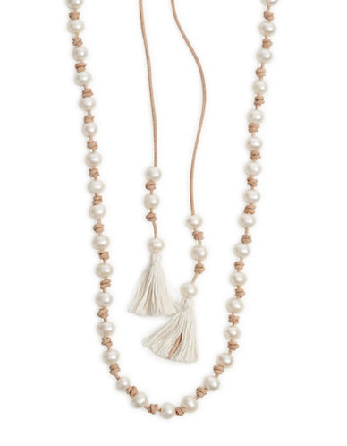 Chan Luu Tasseled Pearl Necklace-PEARL-One Size