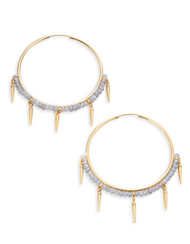 Chan Luu Beaded Hoop Earrings with Spikes-GOLD-One Size