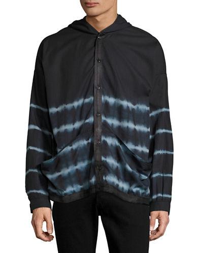 Drifter Tie Dye Boxy Shirt Hoodie-BLACK-Large