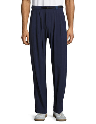 Drifter Pleated Wide Leg Pants with Belt-NAVY-Small