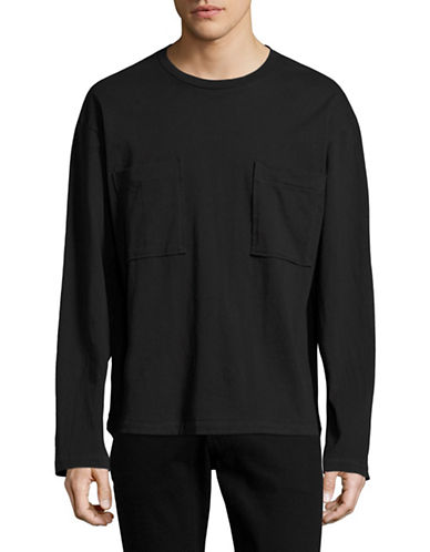Drifter Double Pocket Long Sleeve T-Shirt-BLACK-Medium