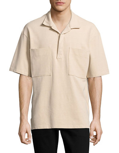 Drifter Oversized Patch Pocket Polo-BEIGE-Large