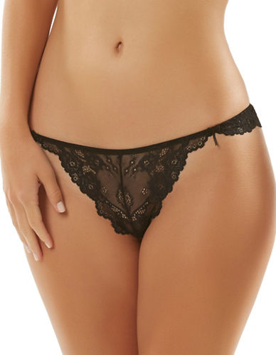 Jezebel Caress Too Lace Thong-BLACK-Medium