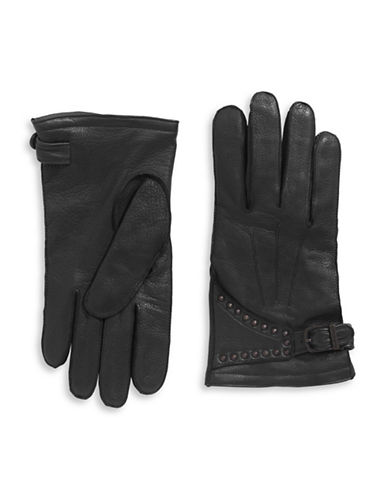 John Varvatos Star U.S.A. Leather Studded Motorcycle Gloves-BLACK-Medium