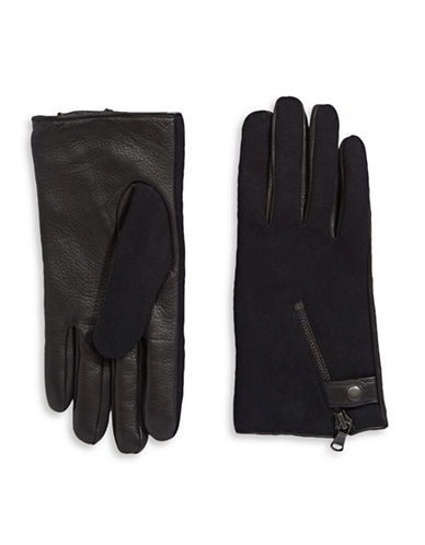 John Varvatos Star U.S.A. Mixed-Media Zip Gloves with Cashmere-Wool Lining-BLACK-Small