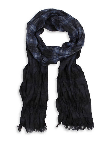 John Varvatos Star U.S.A. Plaid Dip Dye Scarf-BLACK-One Size