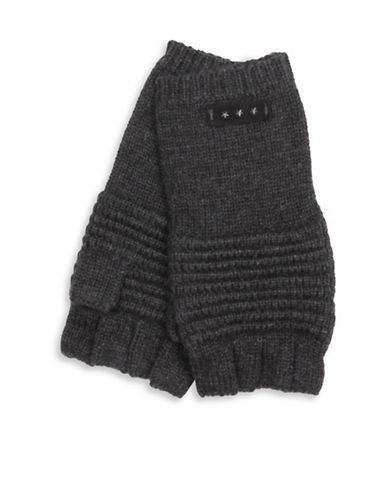 John Varvatos Star U.S.A. Ottoman Stitch Fingerless Gloves-GREY-One Size