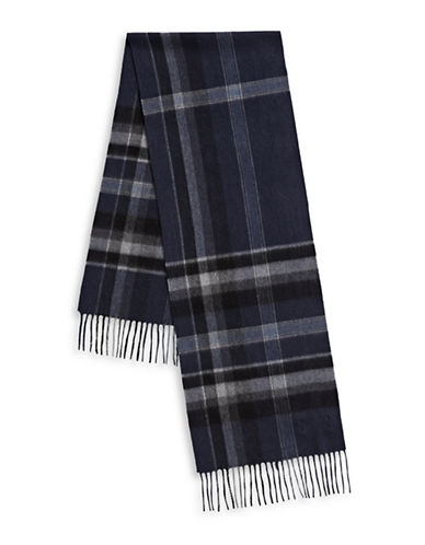 Black Brown 1826 Check Plaid Cashmere Scarf-NAVY-One Size