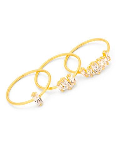 Gorjana Set of Three Amara 18K Goldplated Crystal Rings-GOLD-7