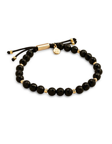 Gorjana Power Gemstone Black Onyx Beaded Bracelet-GOLD-One Size
