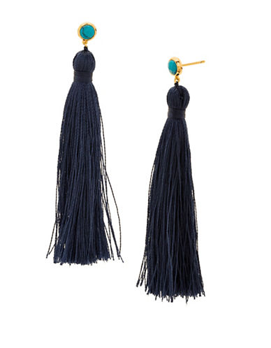 Gorjana Tulum Turquoise and 18K Goldplated Tassel Earrings-INDIGO-One Size
