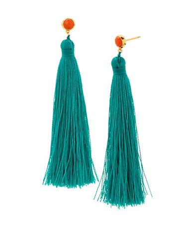 Gorjana Tulum Pink Coral and 18K Goldplated Tassel Earrings-TEAL-One Size