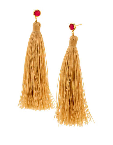 Gorjana Tulum Pink Jade and 18K Goldplated Tassel Earrings-SAND-One Size
