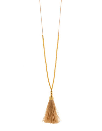 Gorjana Tulum 18K Goldplated Tassel Pendant Necklace-SAND-One Size