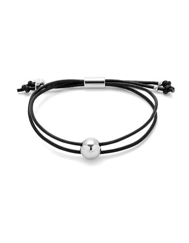 Gorjana Newport Adjustable Leather Bracelet-SILVER-One Size